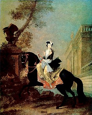 Sidesaddle - Equestrian portrait of Catherine the Great, as a young woman, riding sidesaddle.  She also rode astride.