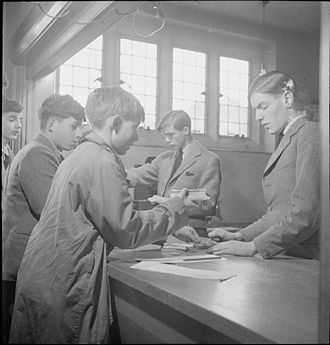 Ampleforth College - Boys buy sweets from the tuck shop at Ampleforth in 1943