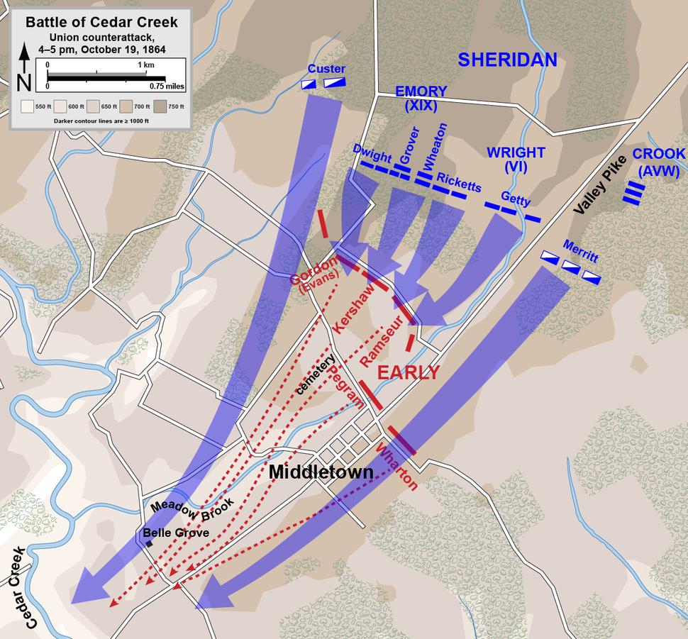 Cedar Creek Union counterattack
