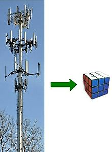 Cell tower, arrow, pointing to tiny Rubiks cube