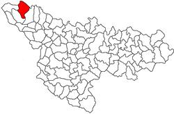 Location of Cenad in Timiș County