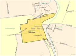 Census Bureau map of Millstone, New Jersey