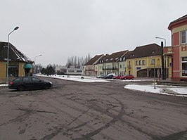 Center of Okříšky in winter, Třebíč District.JPG