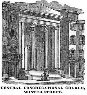 Winter Street (Boston) - Image: Central Congregational Winter St Boston Homans Sketches 1851