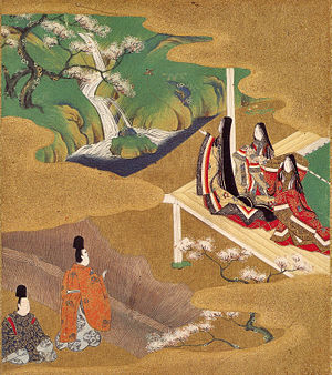 Yamato-e - Scene from The Tale of Genji by Tosa Mitsuoki, from the 17th century Tosa school revival of the style.