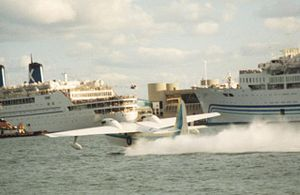 Chalk's International Airlines - Chalk's Turbo Mallard taking-off from Miami Harbor in 1989