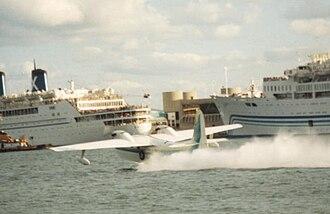 Chalk's International Airlines - Chalk's Turbo Mallard taking-off from Miami Harbor in 1989
