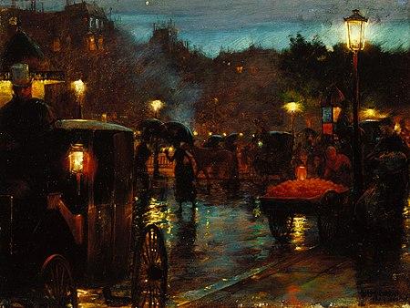 """Charles Courtney Curran, """"Paris la nuit"""", 1889"""