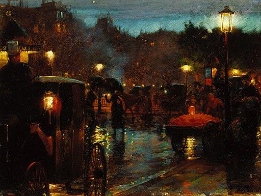 Charles Courtney Curran - Paris la nuit (1889)