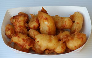Cheese curd - Deep-fried cheese curds served at a community festival in Minnesota