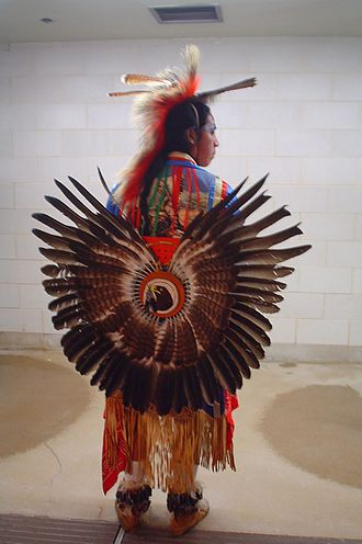 Chemawa Indian School - Dancer in traditional regalia attends a pow-wow at Chemawa Indian School