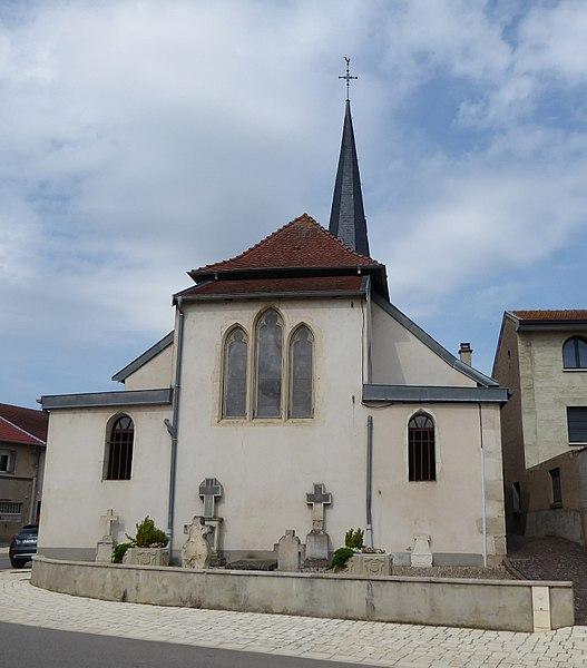 Chevet de l'église de Laneuvelotte en Meurthe-et-Moselle (France).