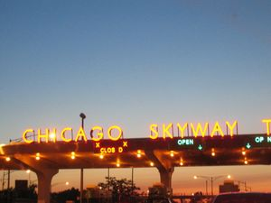 Roads and expressways in Chicago - Night view of the Chicago Skyway tollbooths at the entrance to the Chicago southbound city limits