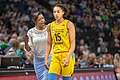 Chicago Sky head coach, Amber Stocks, talks to Gabby Williams (15) as she leaves the court.jpg