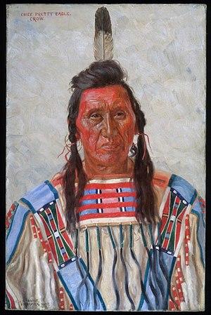 Pretty Eagle - Painting of chief Pretty Eagle by E.A Burbank, 1897