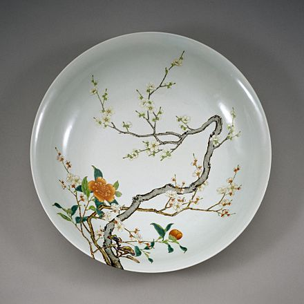 Chinese Imperial Dish with Flowering Prunus, Famille Rose overglaze enamel, between 1723 and 1735 Chinese - Dish with Flowering Prunus - Walters 492365 - Interior.jpg