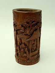 Chinese bamboo carving, late Qing Dynasty; note woodworm holes.