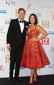Chris Brown, Julia Morris arrives at the TV Week Logie Awards 58th Annual Crown Palladium (26904220145).jpg