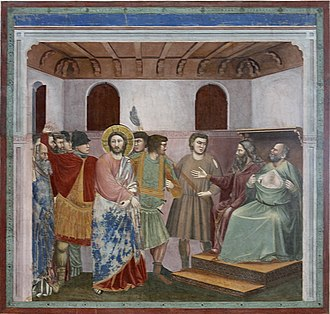 "Caiaphas - ""Christ before Caiaphas"". The High Priest is depicted tearing his robe in grief at Jesus' perceived blasphemy (Giotto, Life of Christ, Scrovegni Chapel, Padua)"