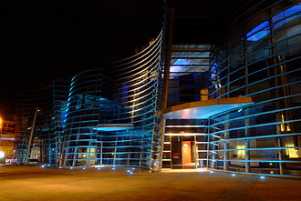 Christchurch Art Gallery - Night time photo of the Montreal Street frontage