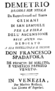 Christoph Willibald Gluck - Demetrio - titlepage of the libretto - Venice 1742.png