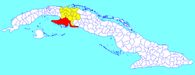 Ciénaga de Zapata municipality (red) within  Matanzas Province (yellow) and Cuba