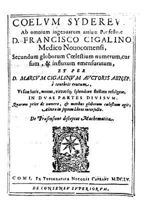Francesco Cigalini - Volturrenus sive De Mathematica praesensione dialogus, 1655