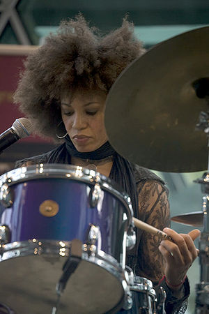 Cindy Blackman Santana - Blackman performing in Federation Square, Melbourne, May 2008