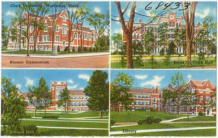 The use of many of these buildings has changed since this postcard was printed around the middle of the 20th century.