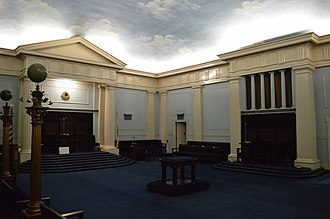 George P. B. Alderman - Top to bottom: Sacred Heart Church in New Britain, Connecticut; the former Rodphey Shalom Synagogue, of Holyoke, Massachusetts; interior of the Classic Room of the Holyoke Masonic Temple; examples of several ornate buildings that Alderman and his firm designed