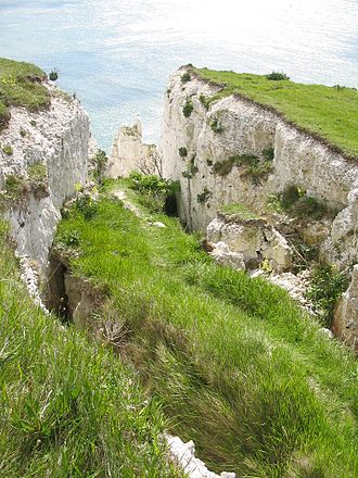 White Cliffs of Dover - Evidence of erosion along the cliff top