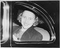 Close-up photograph of Margaret Truman, taken through the side window of an automobile. Miss Truman had just returned... - NARA - 199956.tif