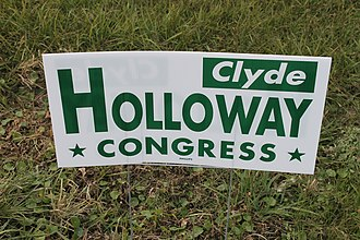 Clyde C. Holloway - Holloway last campaign sign (2014) in his native Lecompte, Louisiana