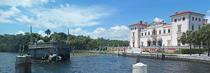 Vizcaya Museum and Gardens - Mansion on the right, stone barge on the left