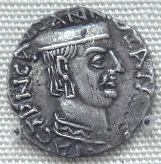 Chashtana - Silver coin of Chashtana, with ruler profile and pseudo-Greek legend. British Museum.