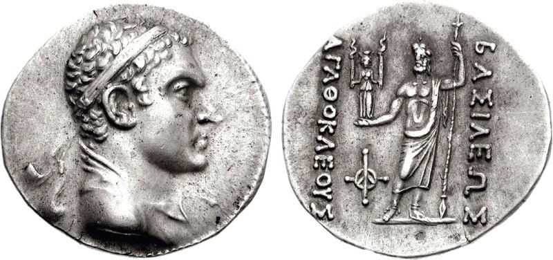 Coin of the Bactrian king Agathokles