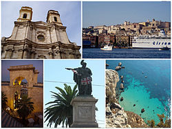 A montage showing different parts and features of the city of Cagliari, Top left:Saint Anna Cathedral, Top right:View of Cagliari Port, Via Rome Square and Historial area, Bottom left:San Remy Bastion, Bottom center:Carto Felice Statue in Yanne Square, Bottom right:Sella the Dicuolo Coast
