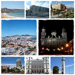 Views o Las Palmas, clockwise frae tap, Las Canteras Beach, Canaria Local Govrenment Center, Alfredo Kraus Hall, Nicht o Canaria Catedral, Lichthoose in Las Palmas Port, Perez Galdos Theater, View o Dountoun Las Palmas