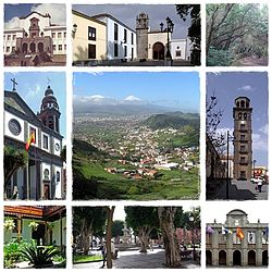 Clockwise from top: University of La Laguna, Shrine of Cristo de La Laguna, Forests, لا لگونا کا گرجاگھر, Panoramic city, Iglesia de la Concepción, Consejo Consultivo de Canarias, Plaza del Adelantado and city council.