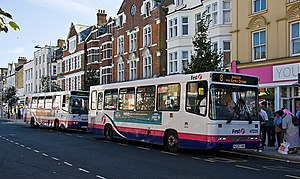 First Essex - Alexander Dash bodied Dennis Dart in Clacton-on-Sea in August 2009