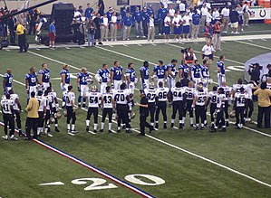 2007 New Orleans Saints season - Indianapolis Colts and Saints players line up on NFL opening day, September 6, 2007