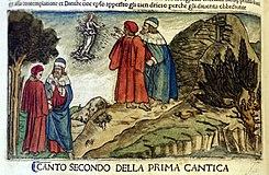 File:Commento di cristoforo landino sopra la comedia di dante..., incunabolo per niccolò di lorenzo della magna, firenze 1481, 02 proemio (incisione su dis. di botticelli).jpg
