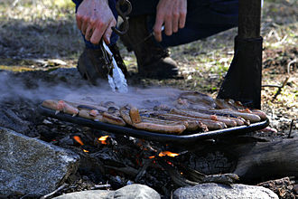 "Outdoor cooking - Australian ""snags"" (English style sausages) cooking on a campfire"