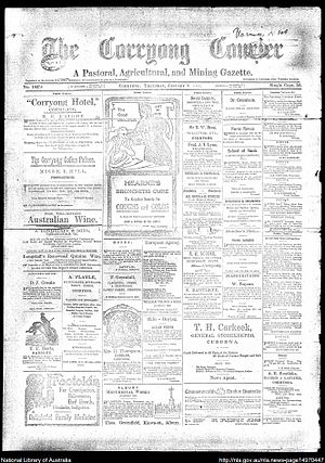 Corryong Courier - Front page of Corryong Courier, 8 January 1914
