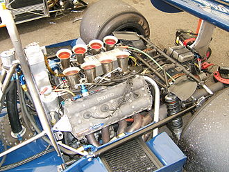Cosworth DFV - The classic DFV engine – Hewland gearbox combination, mounted in the rear of a 1978 Tyrrell 008.
