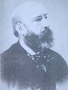 Black and white image a bearded man