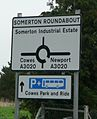 Cowes Somerton Roundabout sign.JPG