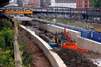 Crossrail - Construction of the Crossrail portal at Royal Oak, from a footbridge to the west of Royal Oak tube station, July 2011