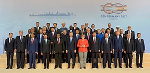 2017 G20 Hamburg summit - G20 leaders group photo during the summit.