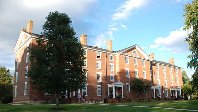 Cushing Hall, Hampden-Sydney College, photo taken by user MorrisS at Wikimedia Commons